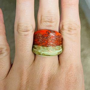 Orange, Light Green and Gold Resin Ring